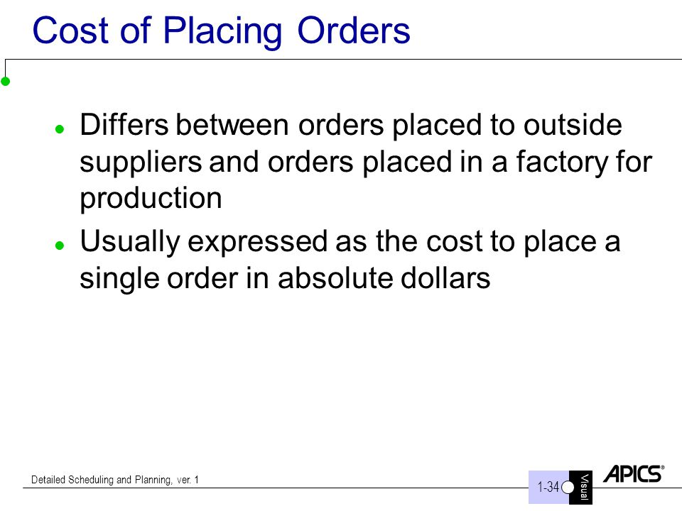 Cost of Placing Orders Differs between orders placed to outside suppliers and orders placed in a factory for production.