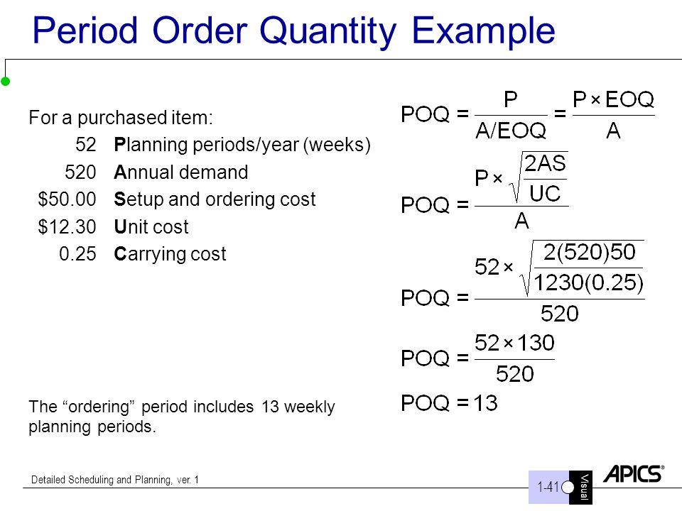 Period Order Quantity Example