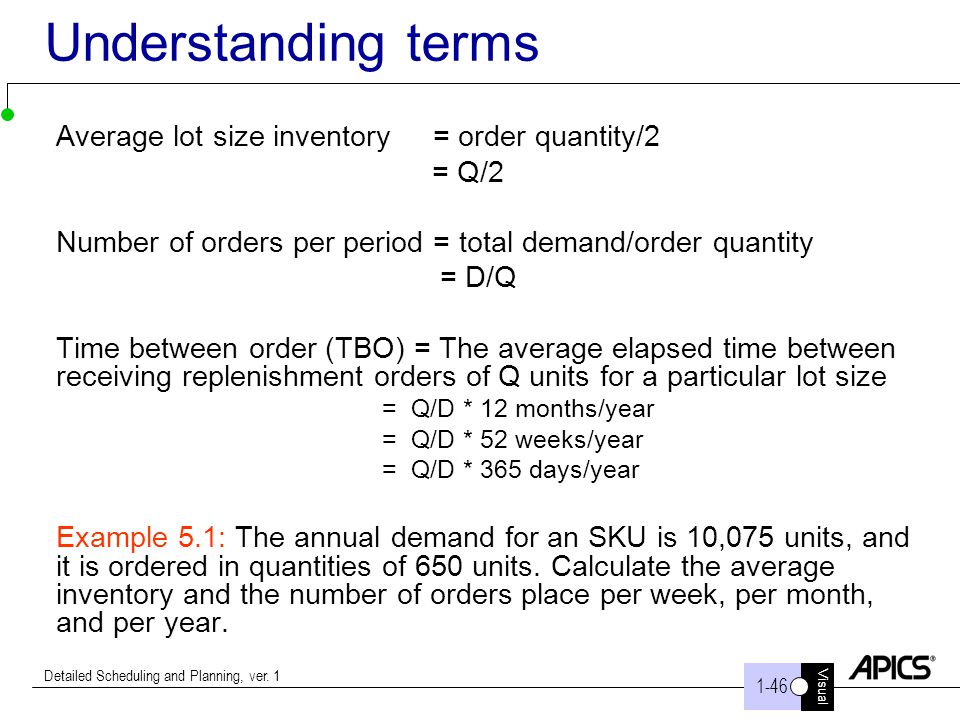 Understanding terms Average lot size inventory = order quantity/2