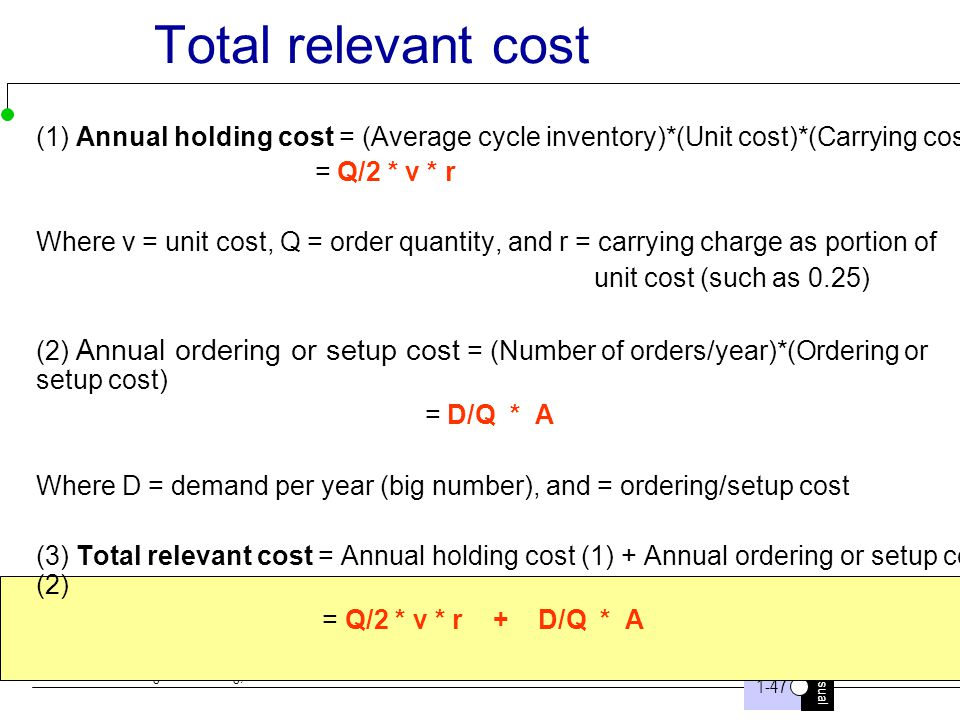 Total relevant cost (1) Annual holding cost = (Average cycle inventory)*(Unit cost)*(Carrying cost)