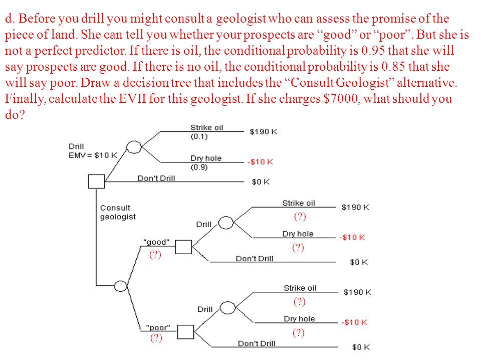 d. Before you drill you might consult a geologist who can assess the promise of the piece of land. She can tell you whether your prospects are good or poor . But she is not a perfect predictor. If there is oil, the conditional probability is 0.95 that she will say prospects are good. If there is no oil, the conditional probability is 0.85 that she will say poor. Draw a decision tree that includes the Consult Geologist alternative. Finally, calculate the EVII for this geologist. If she charges $7000, what should you do