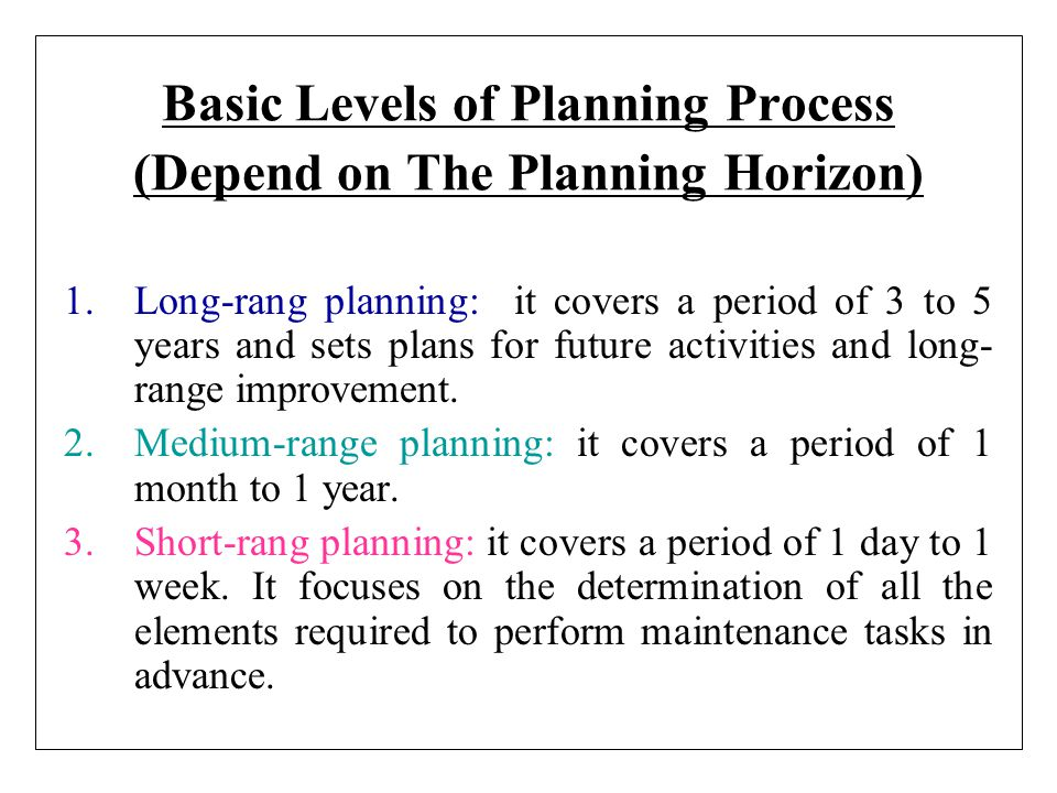Basic Levels of Planning Process (Depend on The Planning Horizon)