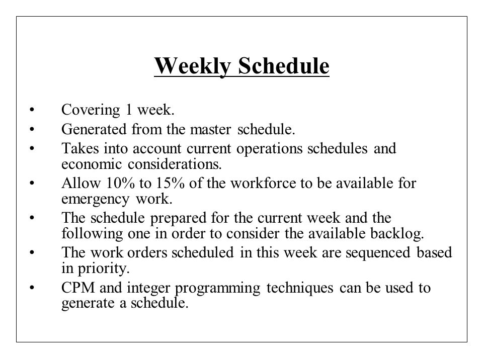 Weekly Schedule Covering 1 week. Generated from the master schedule.