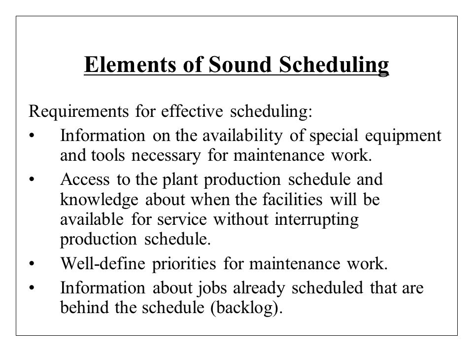 Elements of Sound Scheduling