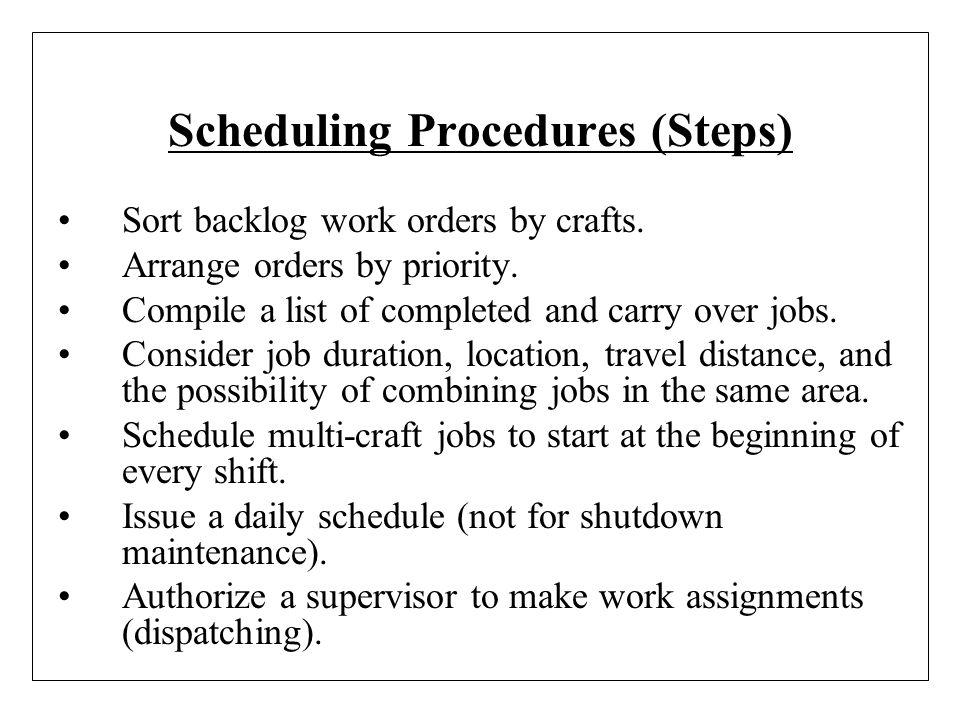Scheduling Procedures (Steps)