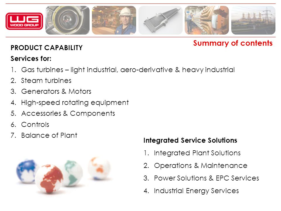 Summary of contents PRODUCT CAPABILITY Services for: