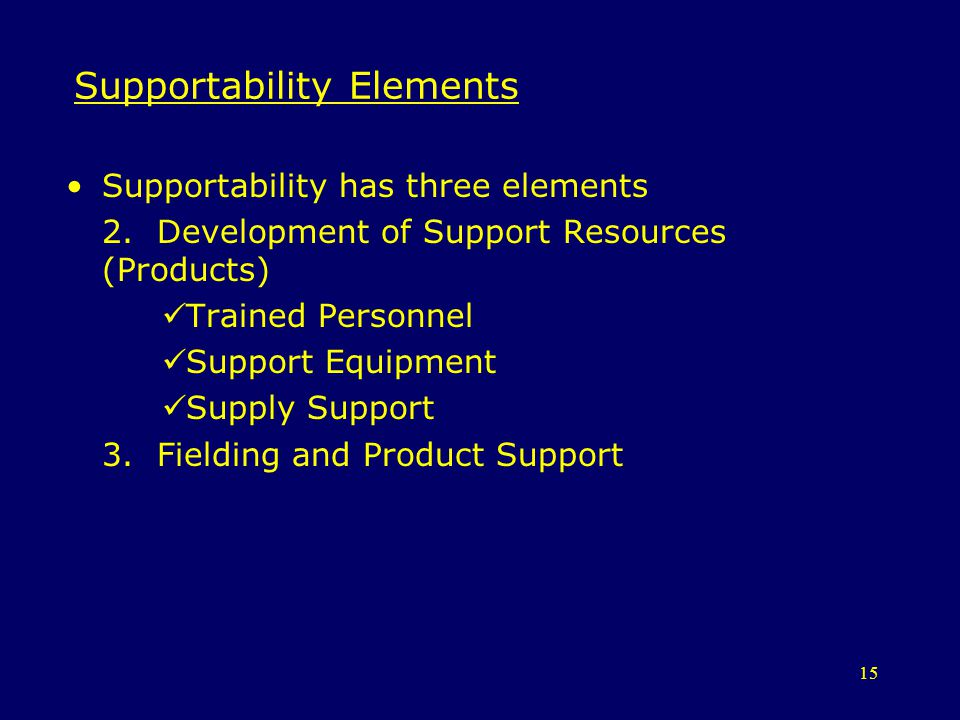 Supportability Elements