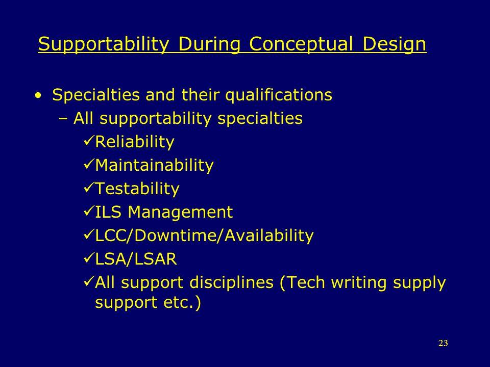 Supportability During Conceptual Design