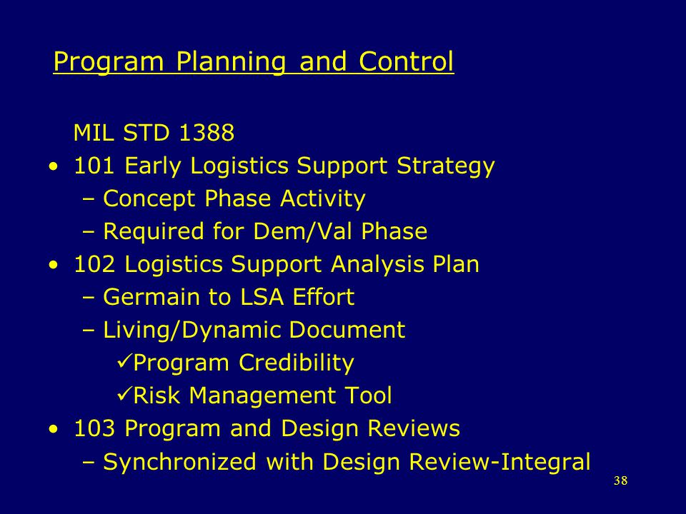 Program Planning and Control