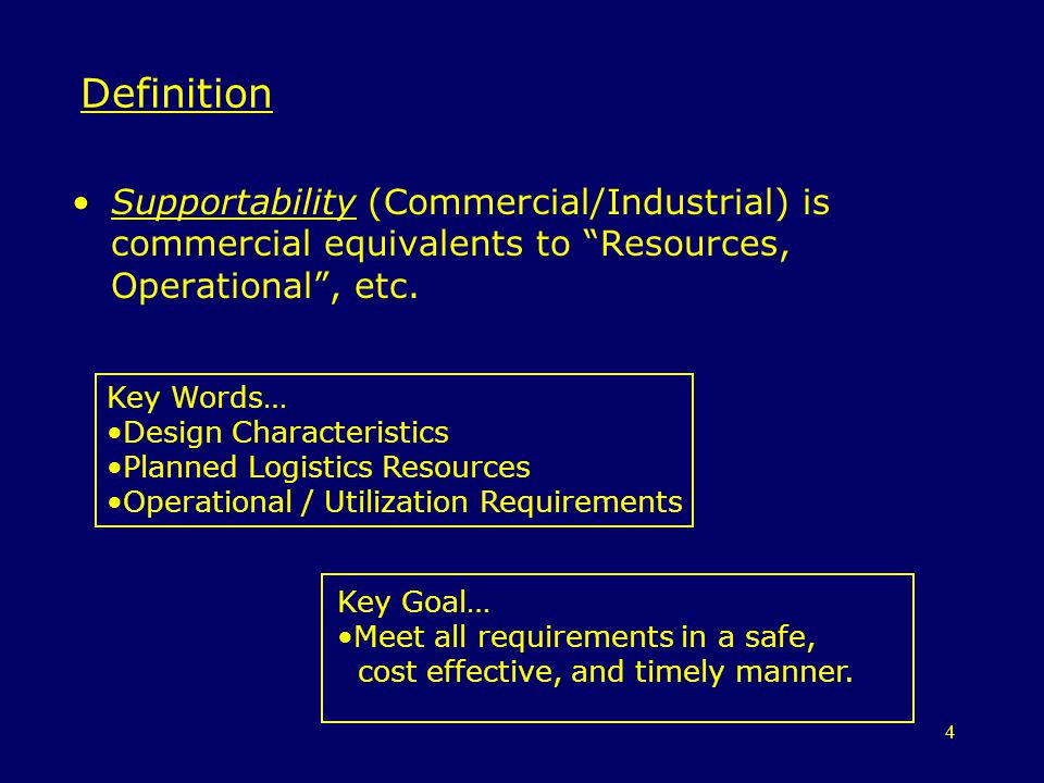 Definition Supportability (Commercial/Industrial) is commercial equivalents to Resources, Operational , etc.