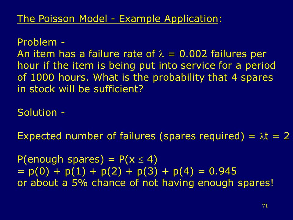The Poisson Model - Example Application: