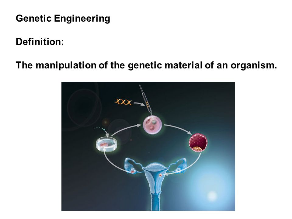 Genetic Engineering Definition: The manipulation of the genetic material of an organism.
