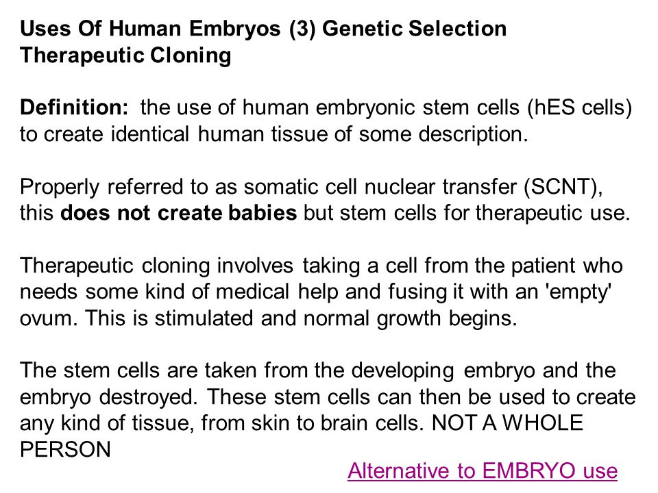 Alternative to EMBRYO use