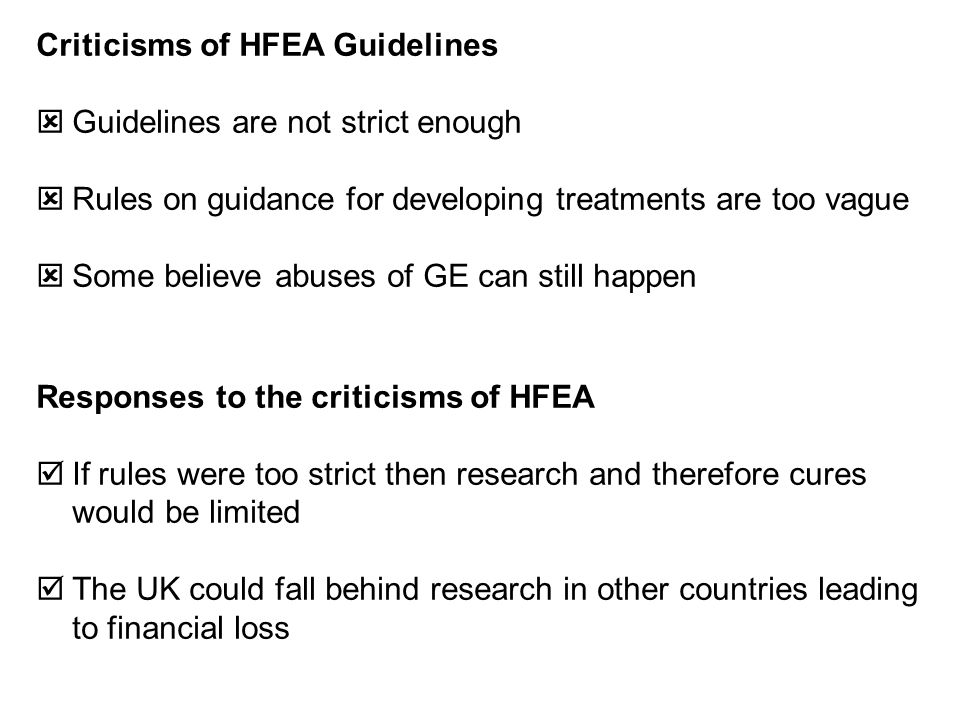 Criticisms of HFEA Guidelines