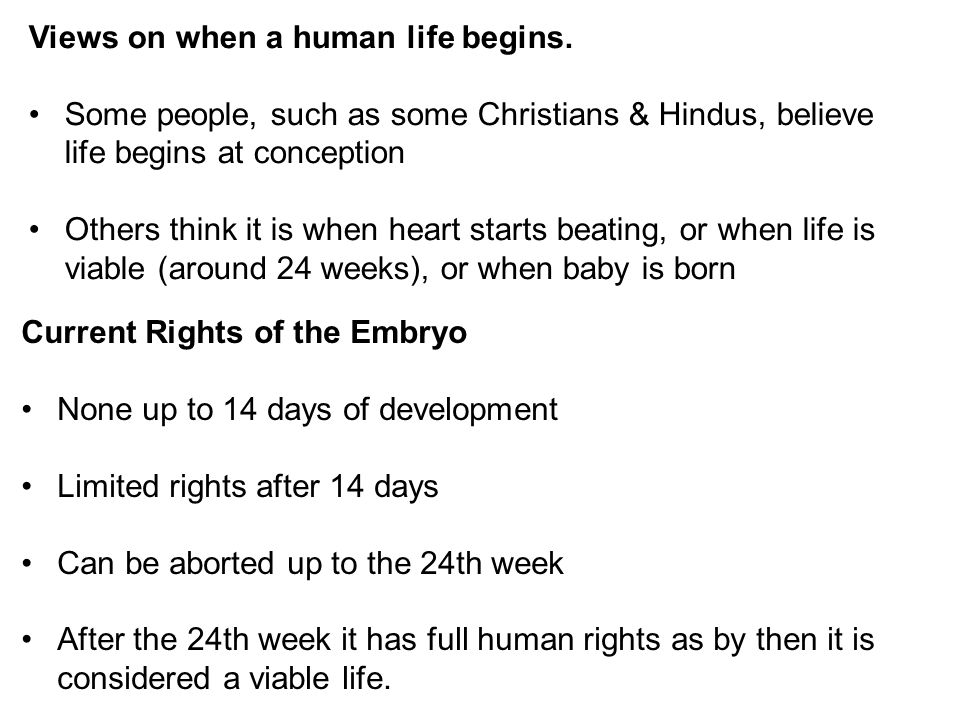 Views on when a human life begins.