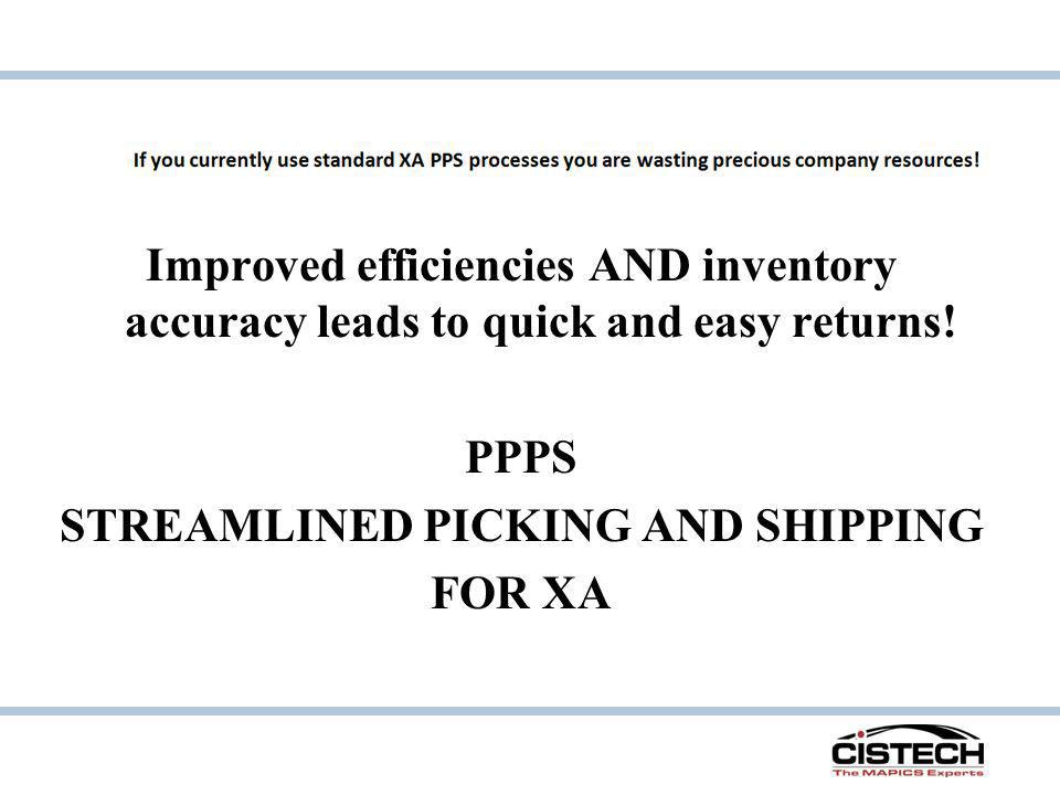 Improved efficiencies AND inventory accuracy leads to quick and easy returns.