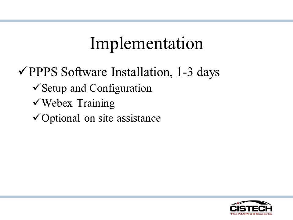 Implementation PPPS Software Installation, 1-3 days