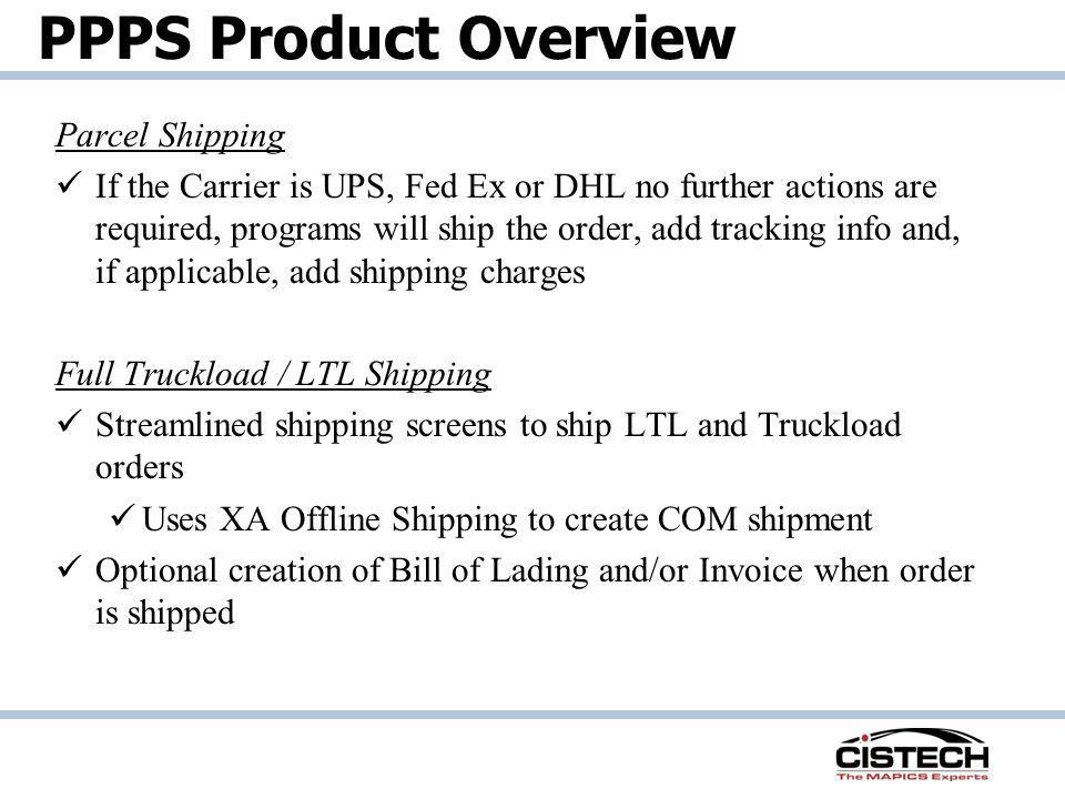 PPPS Product Overview Parcel Shipping