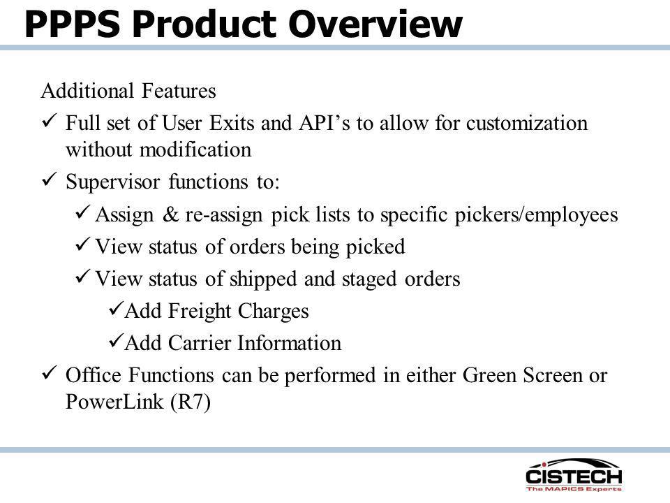 PPPS Product Overview Additional Features