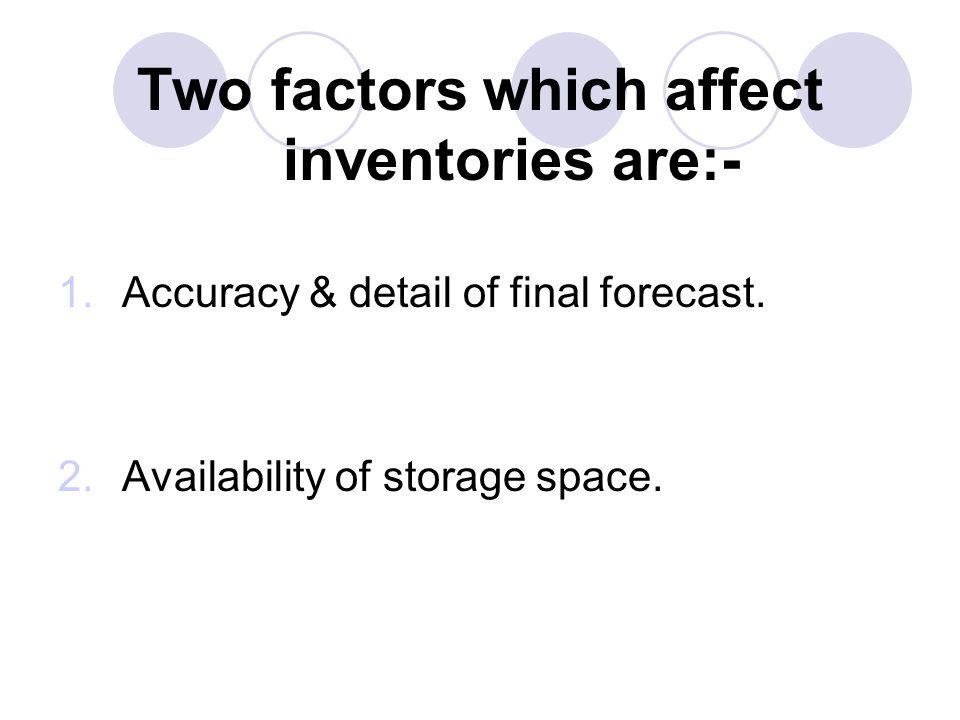 Two factors which affect inventories are:-