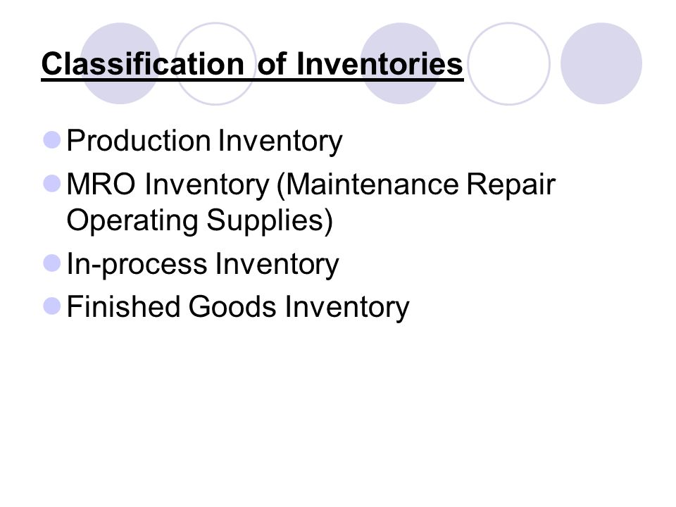 Classification of Inventories