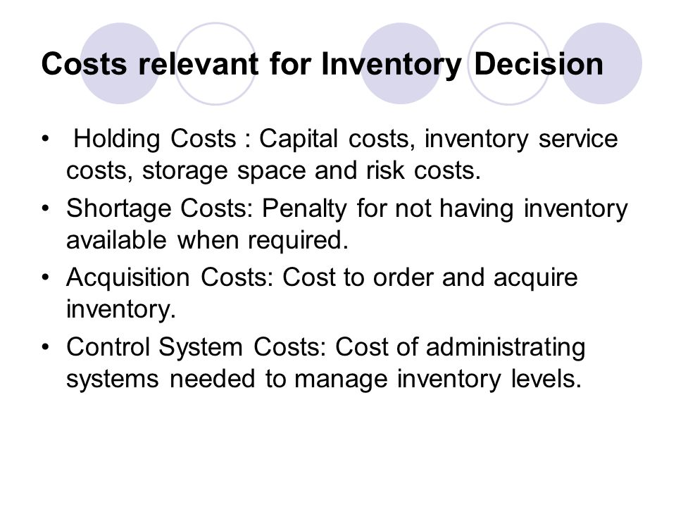 Costs relevant for Inventory Decision