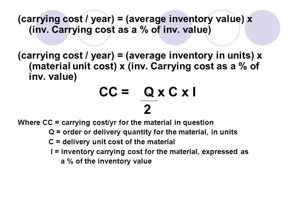 (carrying cost / year) = (average inventory value) x (inv