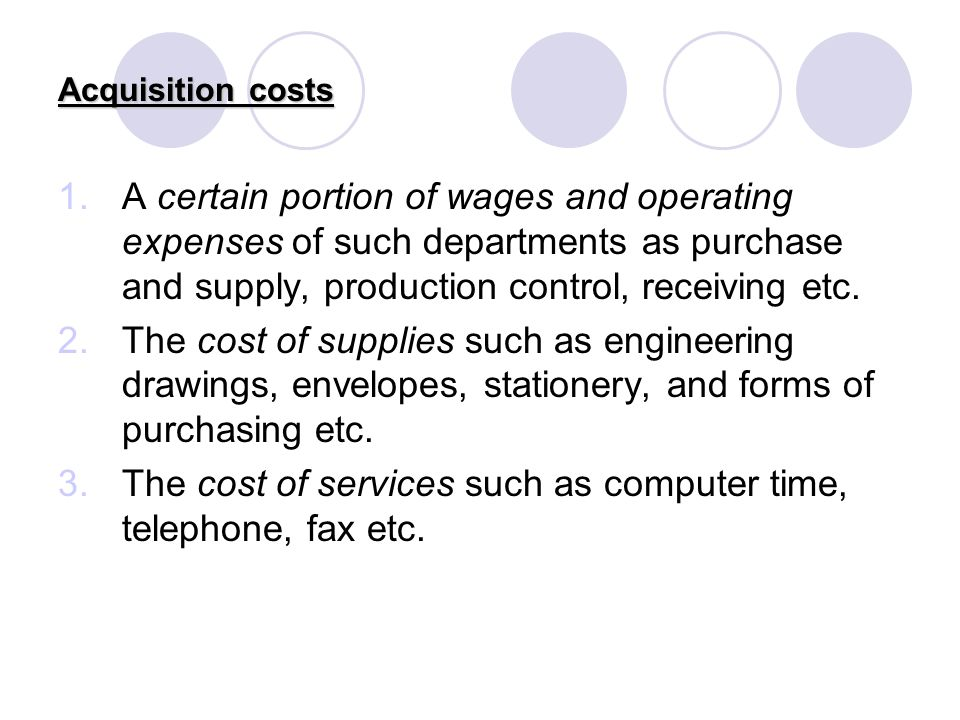 The cost of services such as computer time, telephone, fax etc.