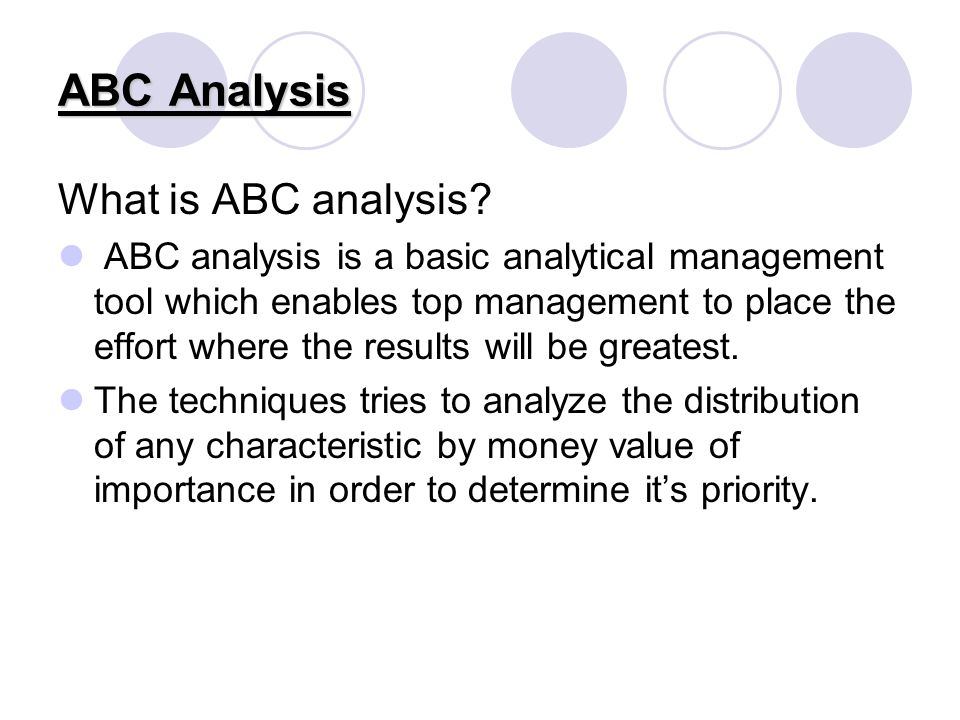 advantages of abc analysis Abc inventory classification  figure 1-9 provides an example of abc analysis figure 1-9 abc classification of inventory the steps to conduct an abc analysis are.