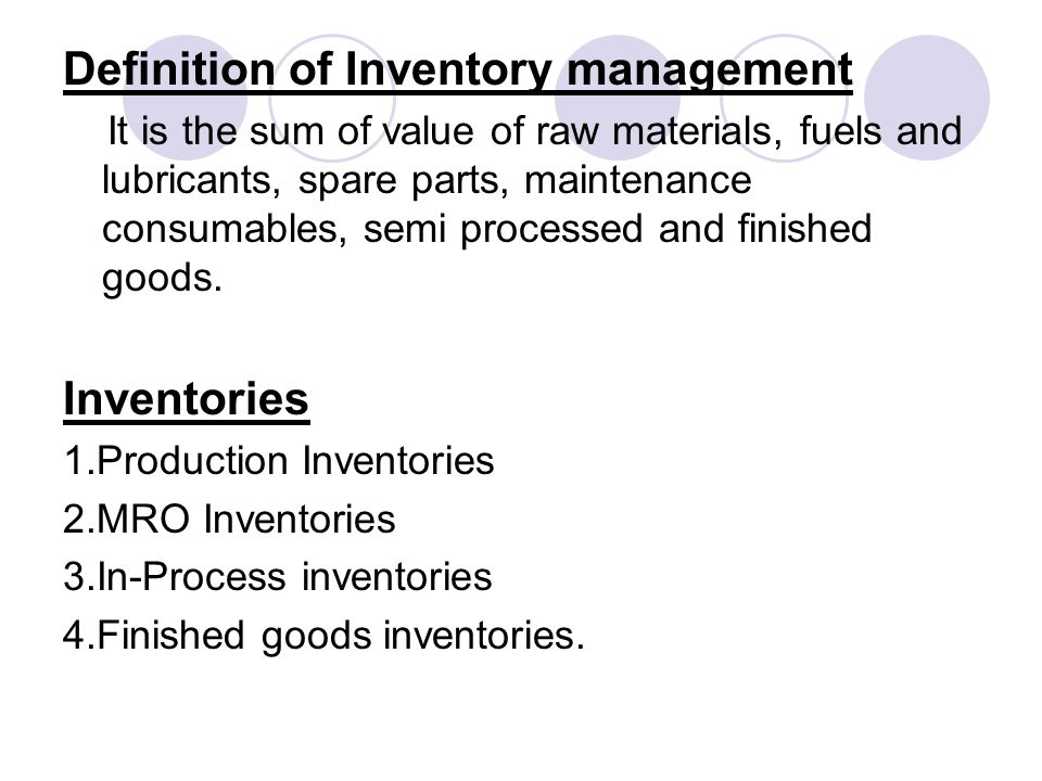 Definition of Inventory management