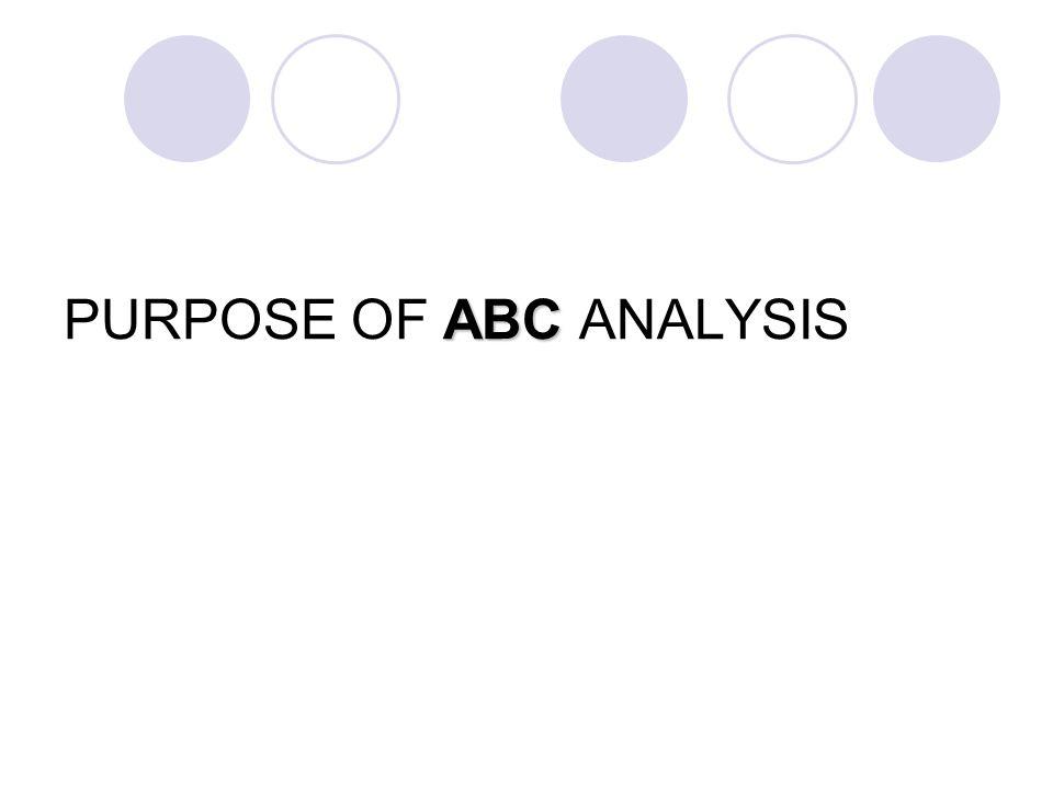 PURPOSE OF ABC ANALYSIS