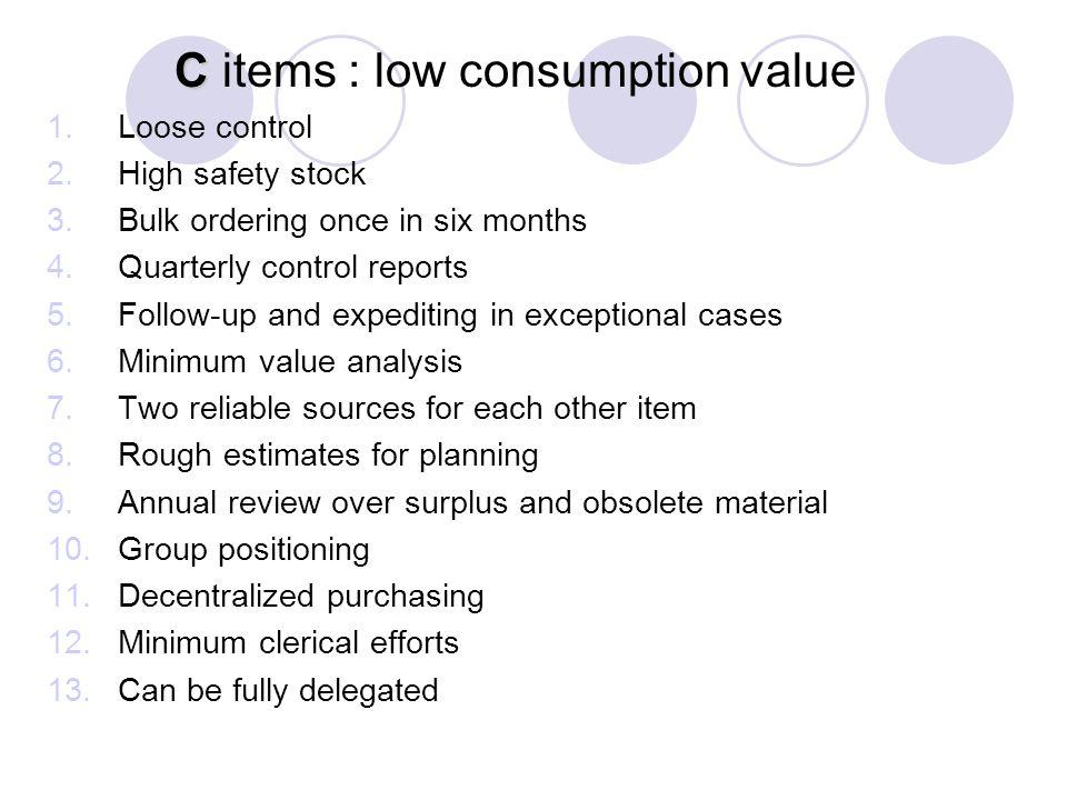 C items : low consumption value