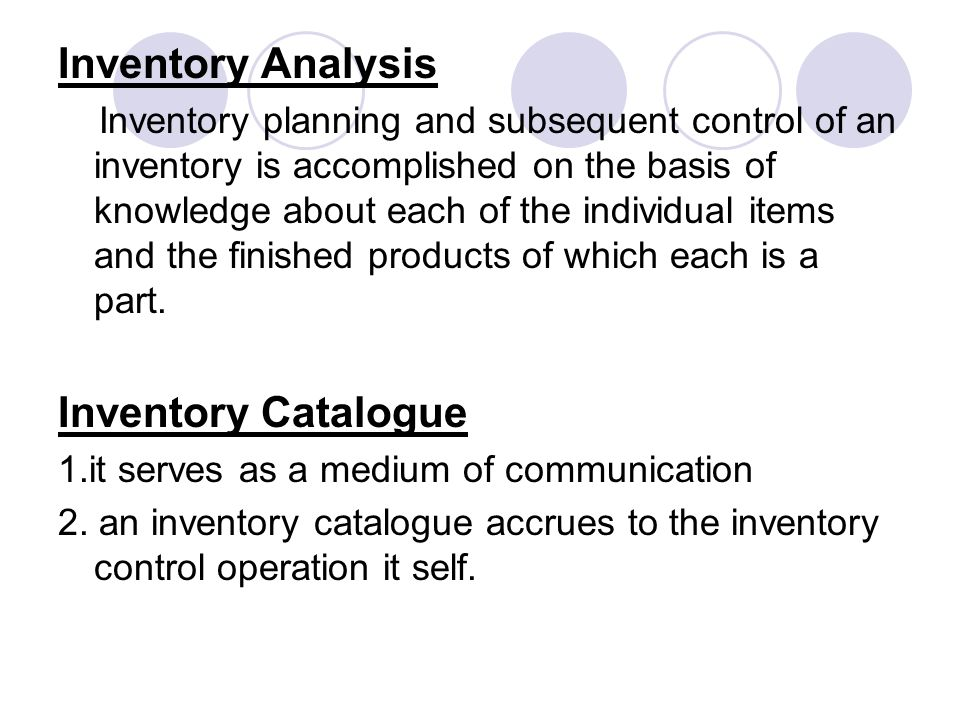 Inventory Analysis Inventory Catalogue