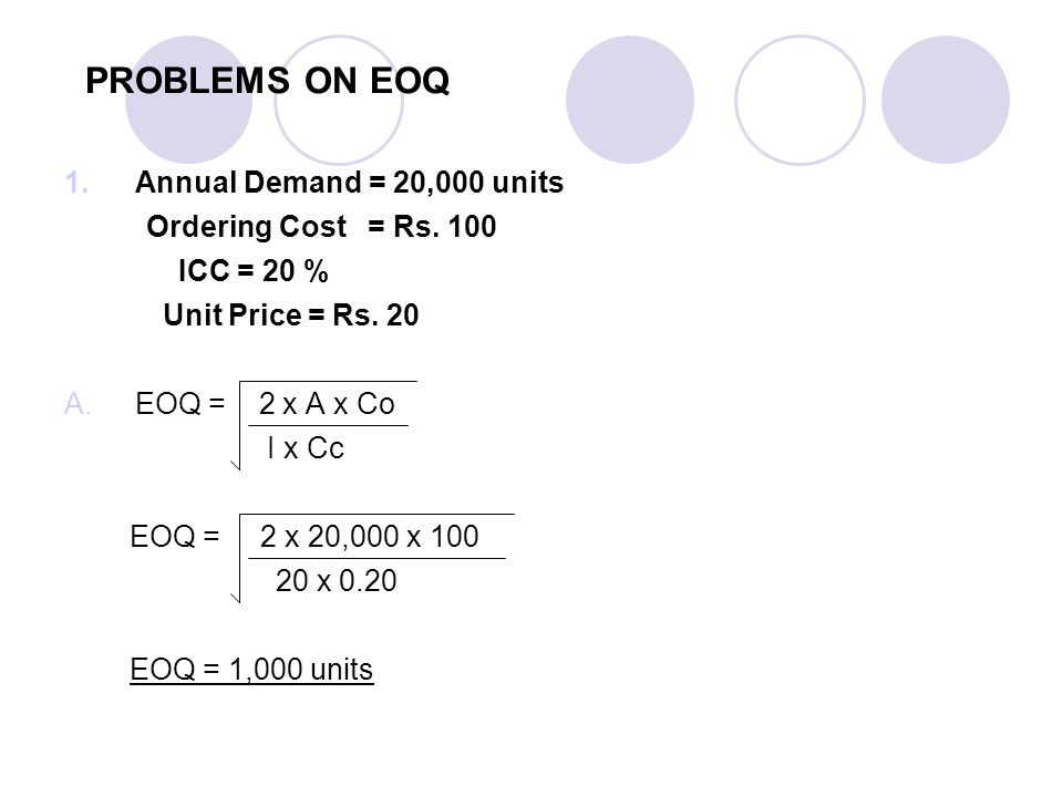 PROBLEMS ON EOQ Annual Demand = 20,000 units Ordering Cost = Rs. 100