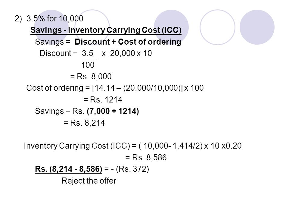 2) 3.5% for 10,000 Savings - Inventory Carrying Cost (ICC) Savings = Discount + Cost of ordering.