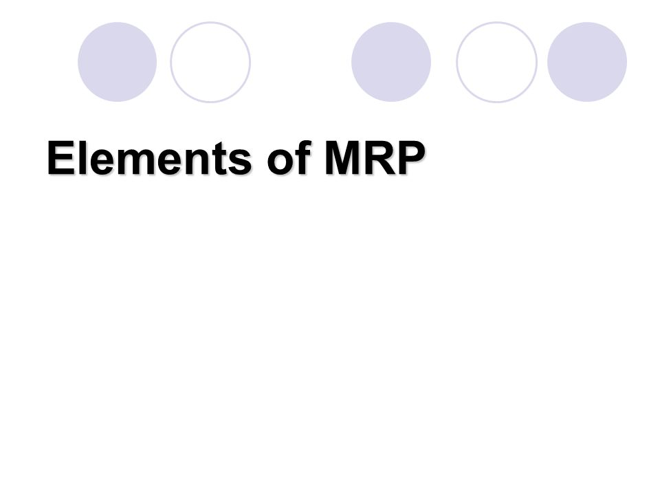 Elements of MRP