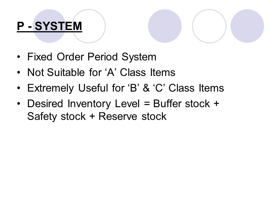 P - SYSTEM Fixed Order Period System Not Suitable for 'A' Class Items