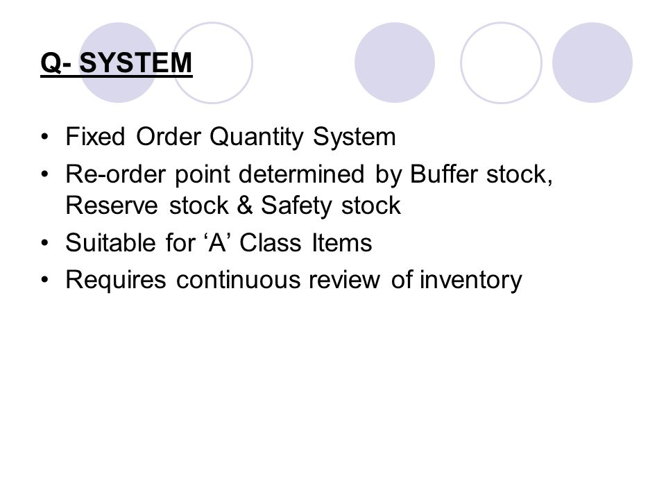 Q- SYSTEM Fixed Order Quantity System