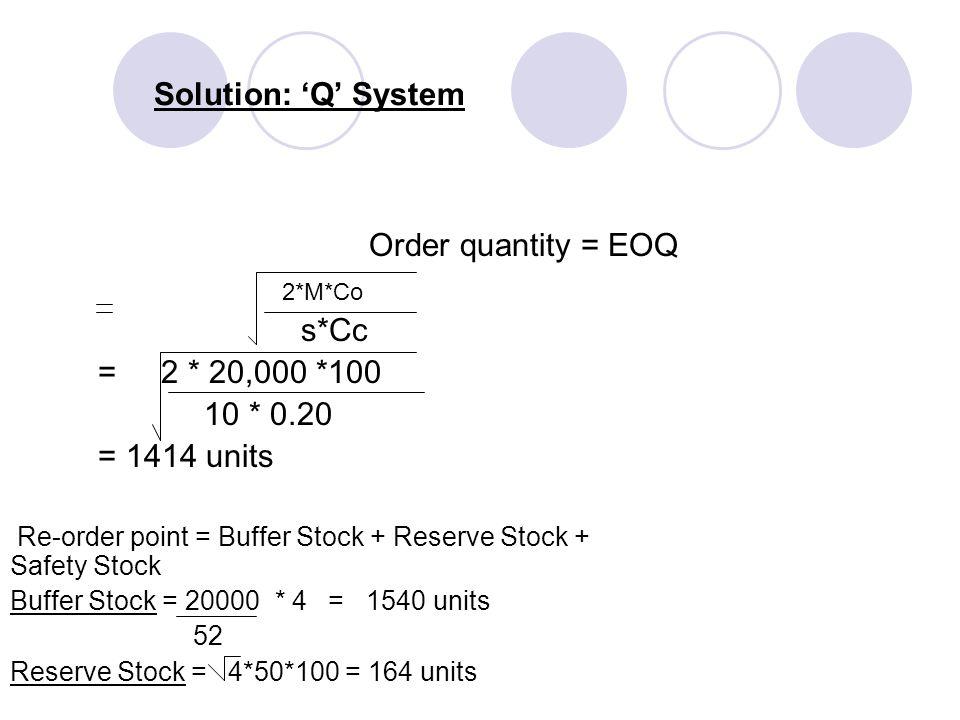 Solution: 'Q' System Order quantity = EOQ s*Cc = 2 * 20,000 *100