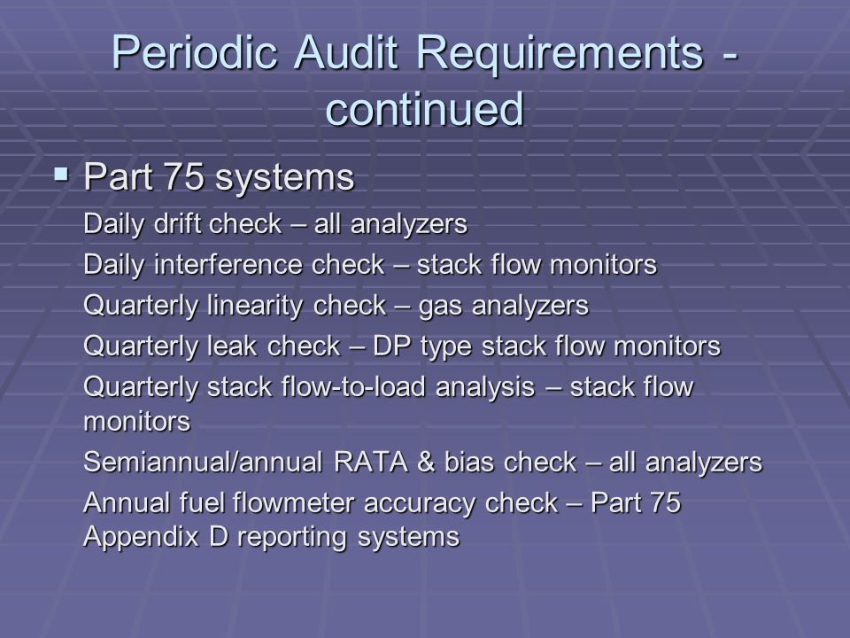 Periodic Audit Requirements - continued