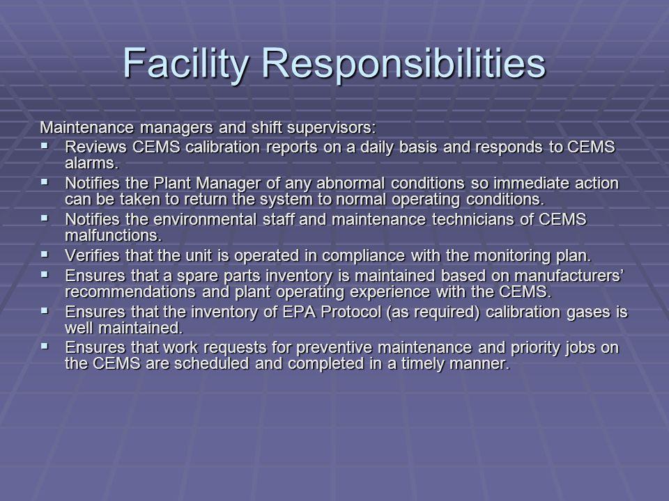 Facility Responsibilities