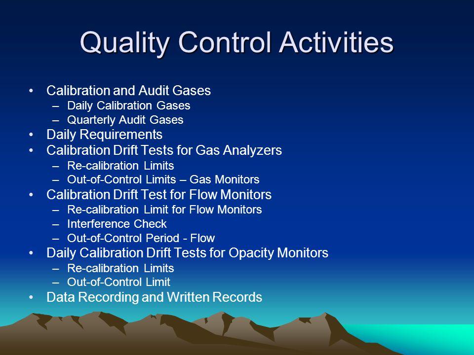 Quality Control Activities
