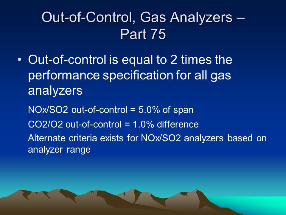 Out-of-Control, Gas Analyzers – Part 75