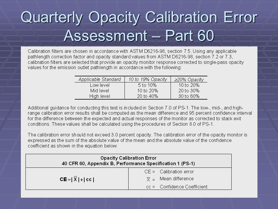 Quarterly Opacity Calibration Error Assessment – Part 60