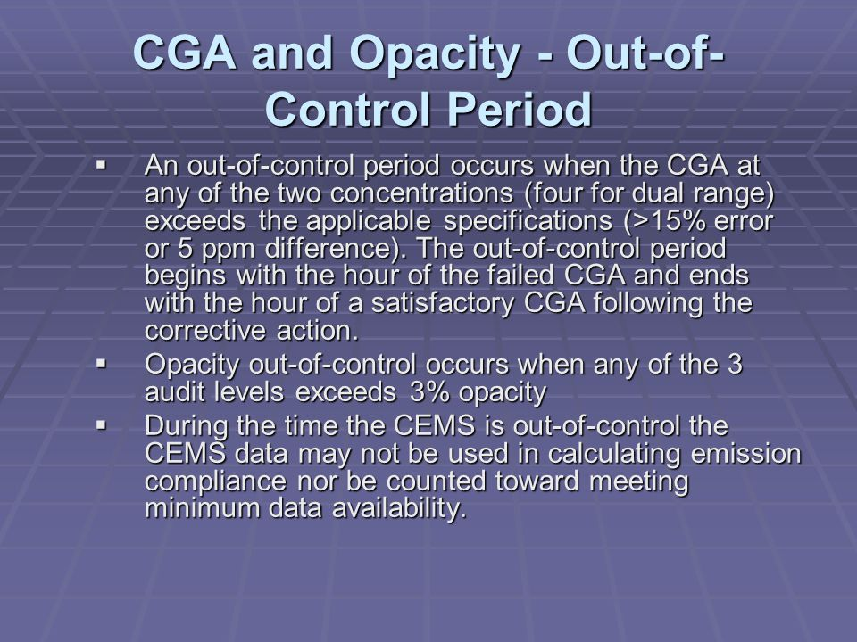 CGA and Opacity - Out-of-Control Period