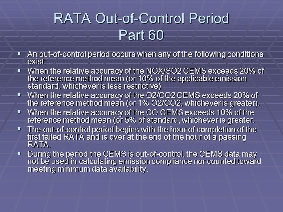 RATA Out-of-Control Period Part 60