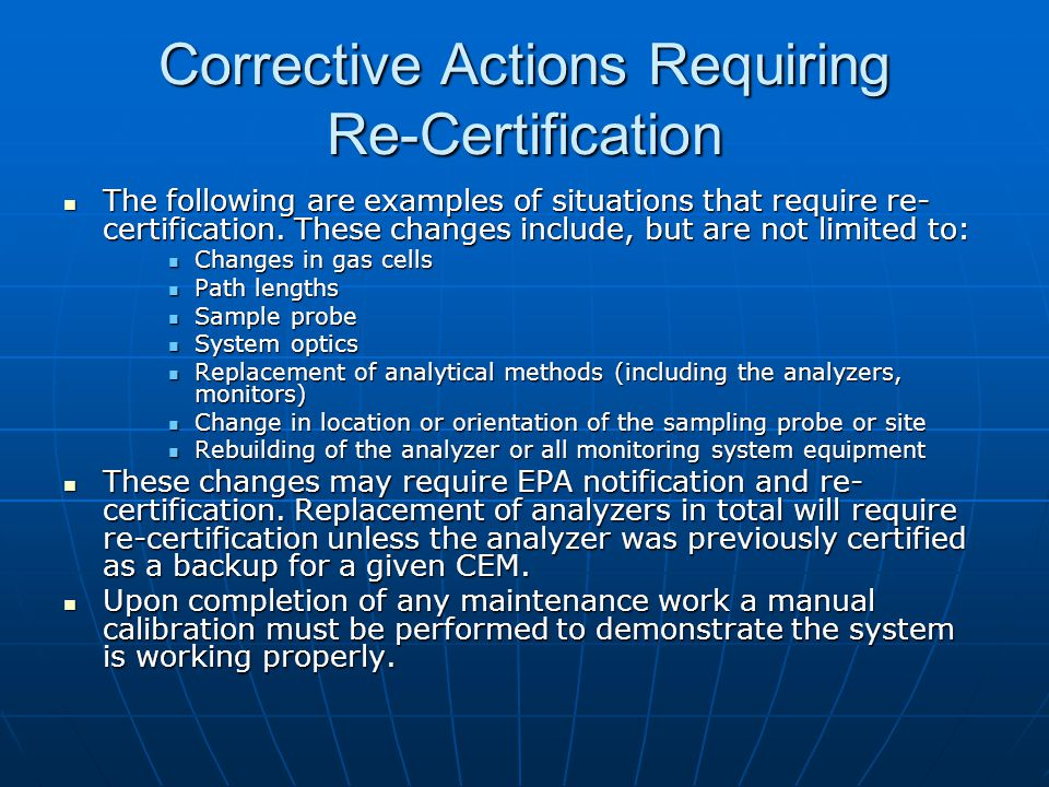 Corrective Actions Requiring Re-Certification