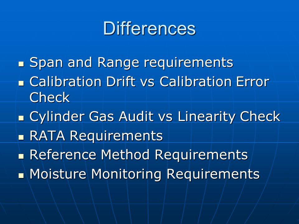 Differences Span and Range requirements