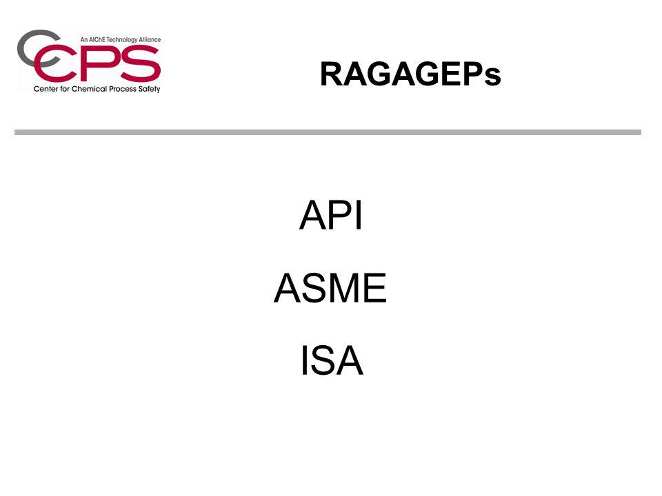 RAGAGEPs API ASME ISA.