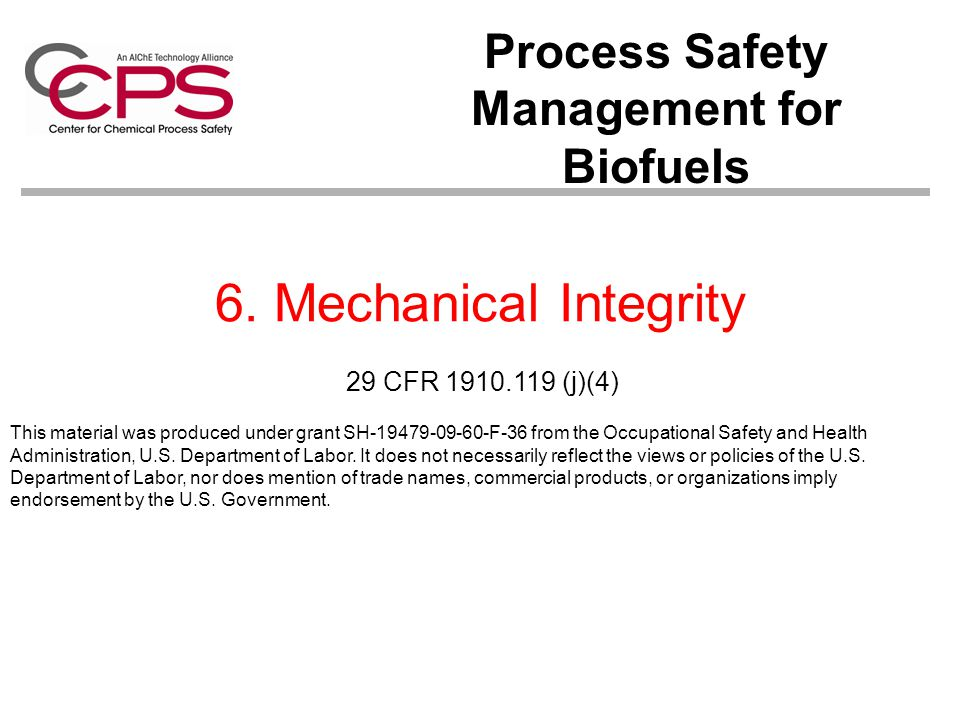 Process Safety Management for Biofuels